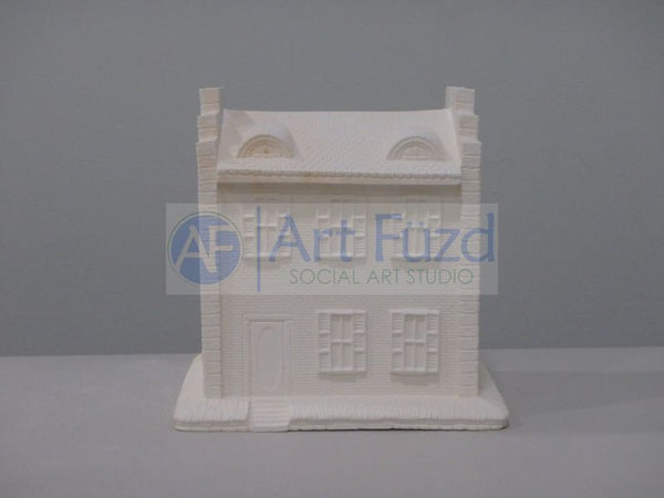 Large Brick House with Half Moon Windows on Roof Figurine ~ 6.5 x 5.75 x 6.5