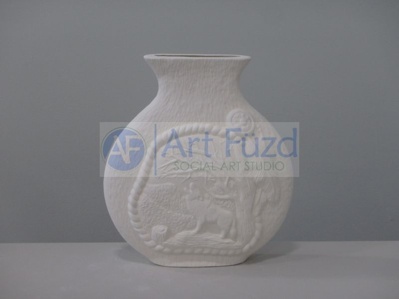 Large Round Textured Vase with Howling Wolf in the Forest ~ 9.5 x 2.5 x 10.5