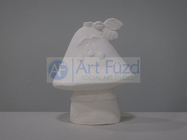 Large Smiling Mushroom with Butterfly Figurine ~ 6.75 x 4 x 8.5