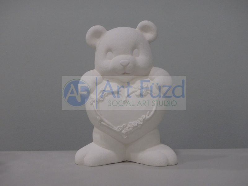 Large Teddy Bear Holding Heart with Flowers Figurine ~ 8.5 x 4.5 x 11.5