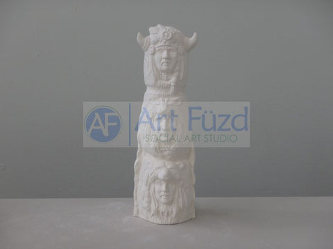Large Totem Pole with Three Faces and Horns ~ 3.25 x 3.25 x 9.5