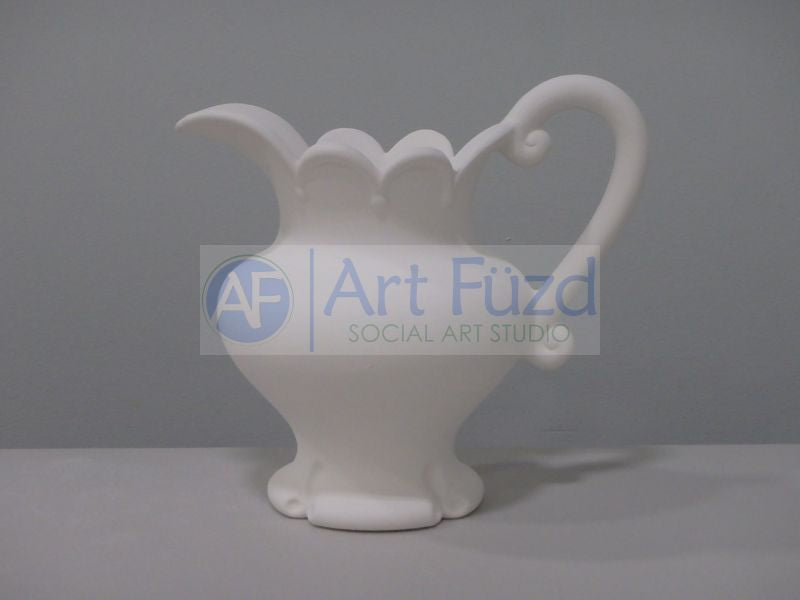 Large Water Pitcher with Scalloped Edge and Double Scroll Handle ~ 9.5 x 6.5 x 8.5