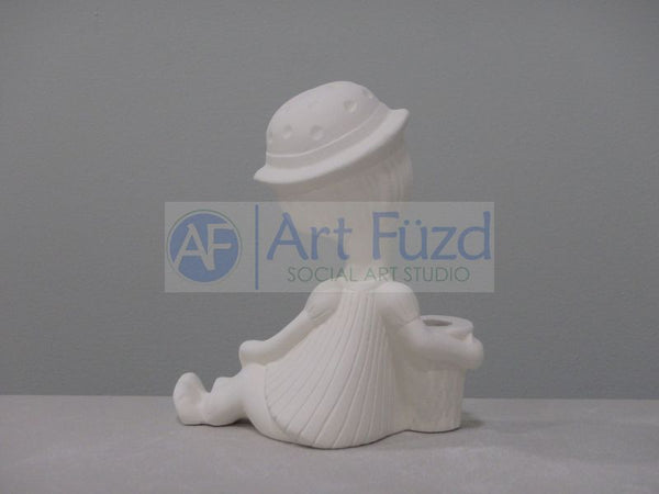 Lounging Girl in Hat Bud Vase ~ 5 x 2.5 x 5.25