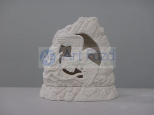 Medium Carved Out Stone Lantern with Flying Eagle Inside and Matching Base ~ 8 x 3.25 x 8.25