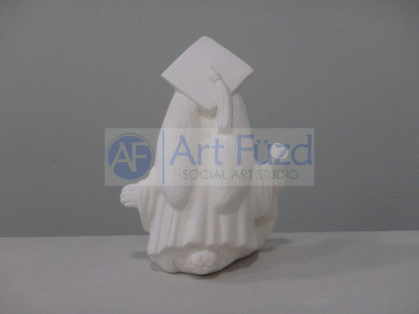 Medium Graduation Rabbit In Gown with Cap and Walking with Scroll Figurine ~ 5.5 x 4.5 x 7.5
