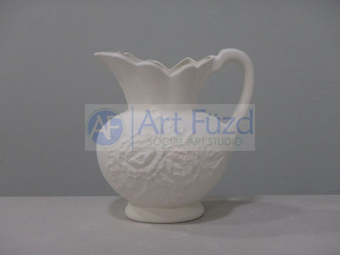 Medium Pitcher with Detailed Flowers ~ 5.25 x 4 x 5.25