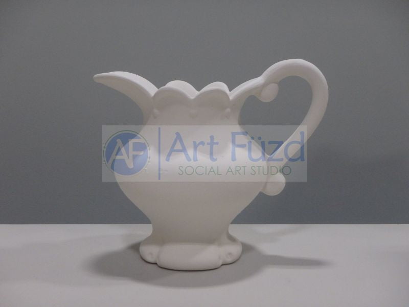 Medium Water Pitcher with Scalloped Edge and Single Scroll Handle ~ 7.25 x 4.75 x 6