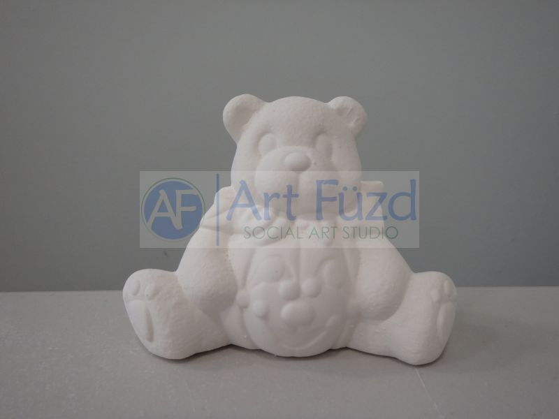 Sitting Teddy Bear with Pumpkin Tummy Figurine ~ 4 x 2 x 3