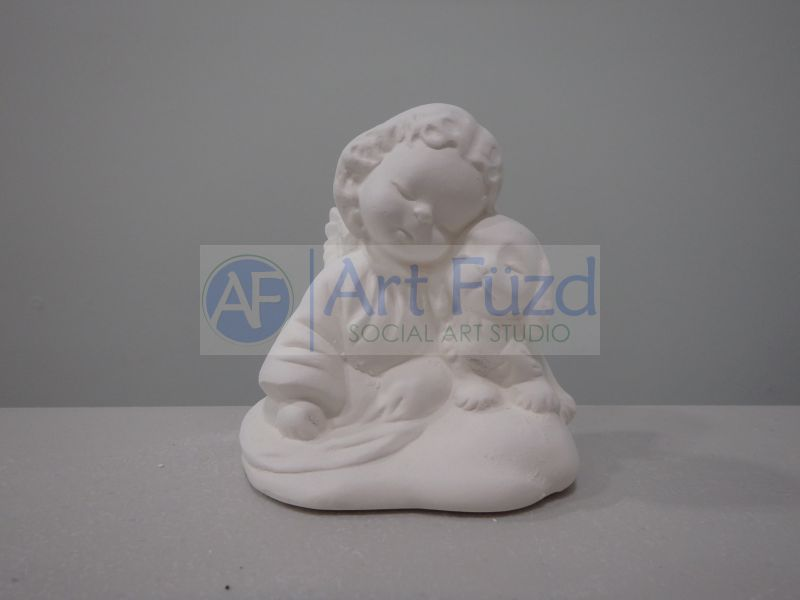 Small Girl Angel with Puppy Dog Figurine ~ 2.75 x 2.25 x 3