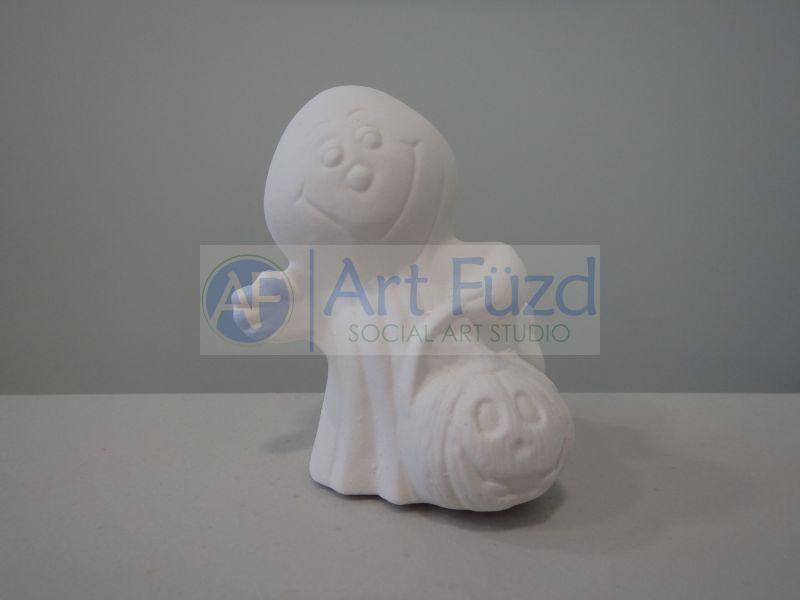 Small Smiling Ghost with Pumpkin Figurine ~ 2.75 x 2.5 x 2.75