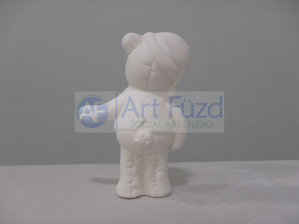 Small Standing Teddy Bear Softee Wearing Hat and Vest Figurine ~ 2.75 x 1.5 x 3.75
