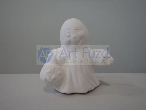 Small Winking Ghost with Pumpkin Figurine ~ 3 x 2 x 2.75