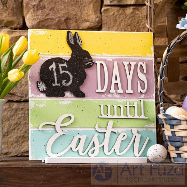 Countdown to Easter Calendar ready-to-paint wood project kit - 11.75 x 11.75