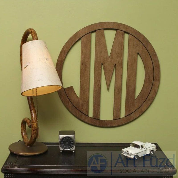 "Personalized Circle Frame Monogram with 3 Block Letters - CHOOSE 18.5"", 23"", or 30"" dia."