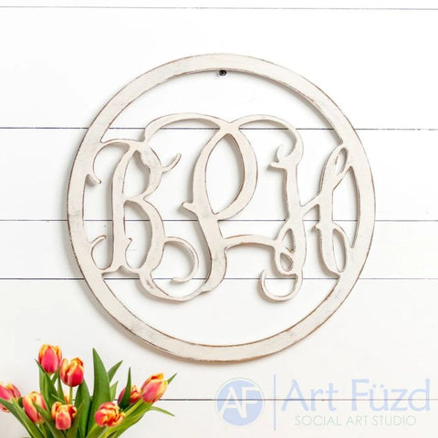 "Personalized Circle Frame Monogram with 3 Letters - CHOOSE 18"" or 30"" dia."
