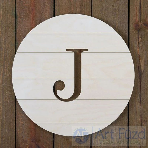 Personalized Grooved Cut-Out Circle Monogram - 18.5 x 18.5