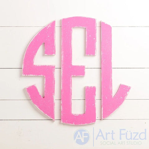 "Personalized Open Cut Circular Monogram with 3 Block Letters - CHOOSE 18.5"" or 34"" dia."