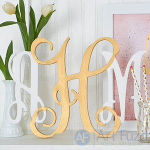 "Personalized Open Joined Script Monogram with 3 Letters - CHOOSE 10.5"", 15"", or 24"" high"