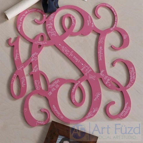 "Personalized Open Square Joined Script Monogram with 3 Letters - CHOOSE 18"" or 24"" dia."
