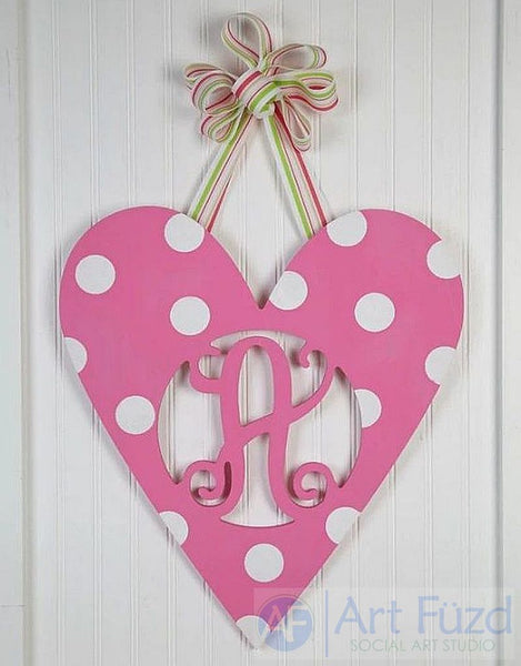 Personalized Heart Vine Monogram ready-to-paint wood sign - 17.25 x 19.5