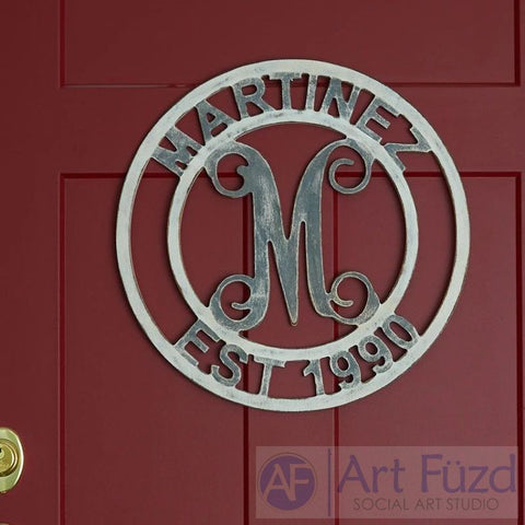 "Personalized Double Circle Family Monogram with Name and Year Established - CHOOSE 19"" or 24"" dia."