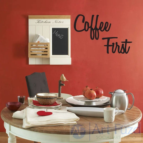 """Coffee First"" ready-to-paint wood sign - 20.7 x 14, 16.8 x 9.3"
