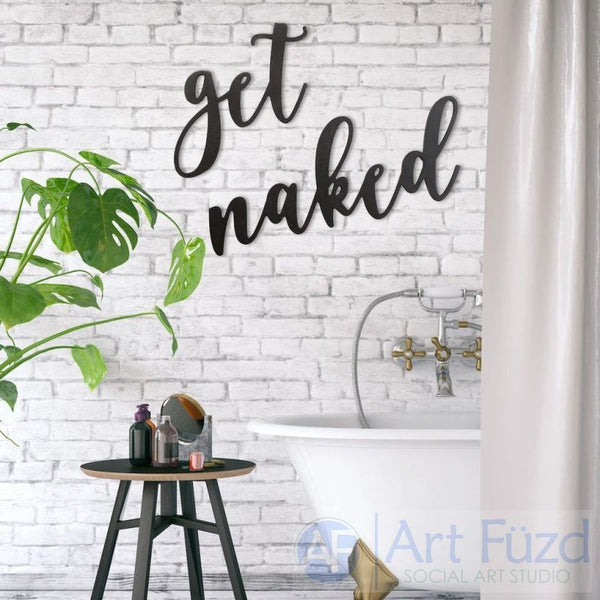 """Get Naked"" ready-to-paint wood sign - 2 pc. set"