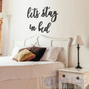 """Let's Stay in Bed"" ready-to-paint wood sign - 4 pc. set"