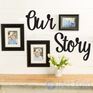 """Our Story"" ready-to-paint wood sign - 2 pc. set"