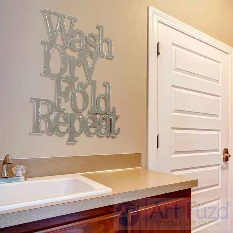"""Wash Dry Fold Repeat"" ready-to-paint wood sign - 29 x 25"