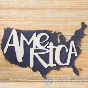 America shape with Country ready-to-paint wood sign - 22.5 x 17.5