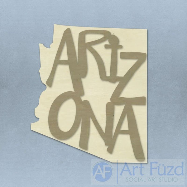 Custom State Shape with State Name ready-to-paint wood sign - 22.5 x 17.5