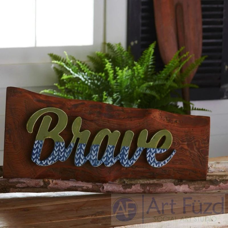 """Brave"" ready-to-paint wood sign - 14.74 x 5.75"