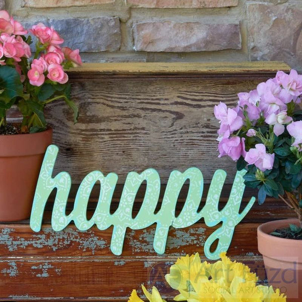 """Happy"" ready-to-paint wood sign - 15.5 x 7.25"