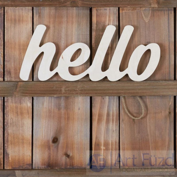 """Hello"" ready-to-paint wood sign - 14.25 x 5.75"