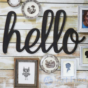 """Hello"" ready-to-paint wood sign - CHOOSE 17.75"", 26"", or 34.5"" wide"