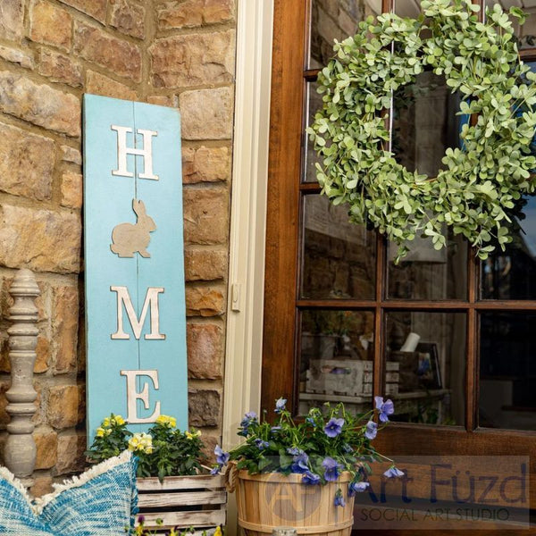 Multi-Season HOME Porch Sign with Interchangeable Shapes ready-to-paint project kit - 11 x 36