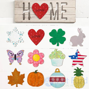 Multi-Season HOME Wall Sign with Interchangeable Shapes ready-to-paint project kit - 19.5 x 7