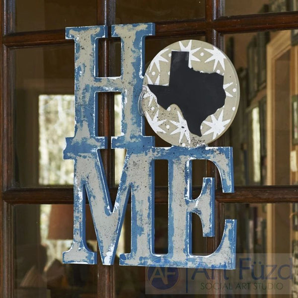 Custom State HOME stacked style canvas ready-to-paint wood sign - 14.5 x 18