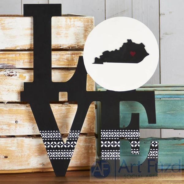 Custom State LOVE stacked style canvas ready-to-paint wood sign - 14.5 x 18