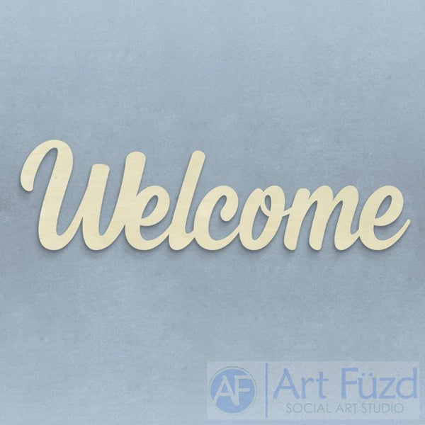 """Welcome"" ready-to-paint wood sign - 23 x 6.5"
