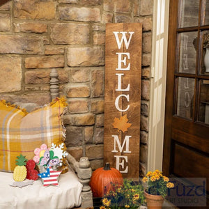 Multi-Season WELCOME Porch Sign with Interchangeable Shapes ready-to-paint project kit - 11 x 48