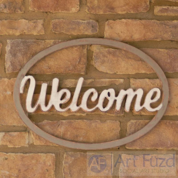 """Welcome"" in Open Oval Frame ready-to-paint wood sign - 23 x 16.5"