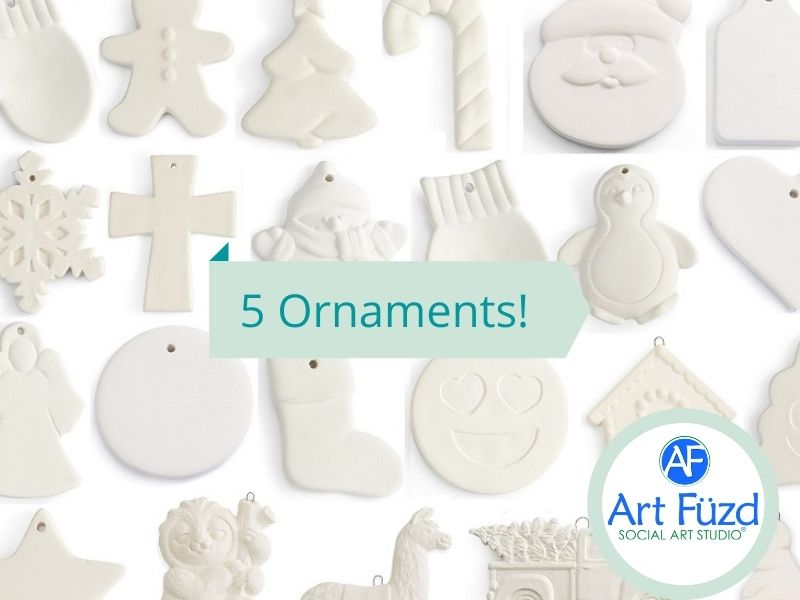 Holiday Ornaments Box ~  Includes Five (5) Flat Ornaments (you choose!)