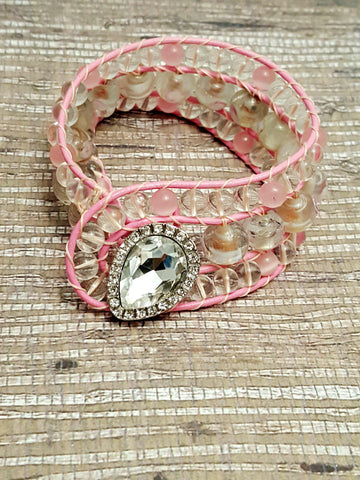Pretty in Pink Beaded Cuff - HaJuls - 1