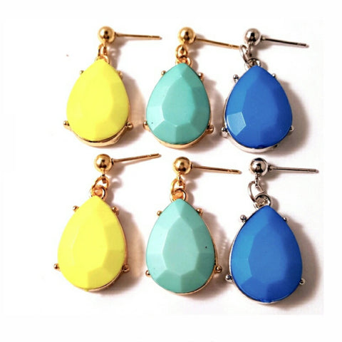 Faceted Stone Teardrop Earrings - HaJuls - 2