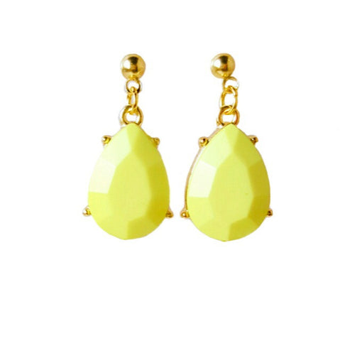 Chartreuse Faceted Stone Teardrop Earrings - HaJuls - 1