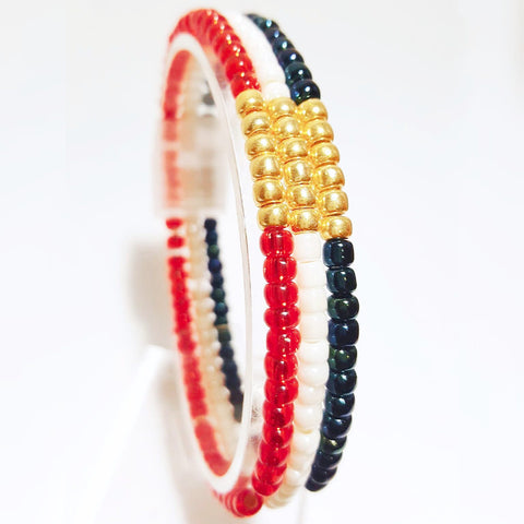 Set of USA Olympic Seed Bead Stackable Stretch Bracelet - HaJuls - 1