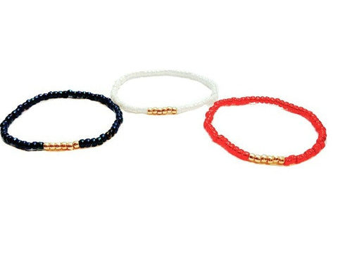 Set of USA Olympic Seed Bead Stackable Stretch Bracelet - HaJuls - 2