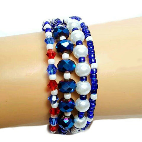 USA Olympic Memory Wire 4 Layer Bracelet - HaJuls - 3